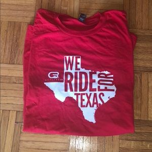 Cyclebar We Ride for Texas Red T Shirt size XL